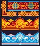 Set orientalische nahtlose Ränder Stockfotos