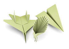 Set of origami airplanes and bird  on white background. 3d render image Royalty Free Stock Photography