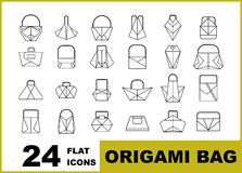 Set of origami bag flat icons vector illustration