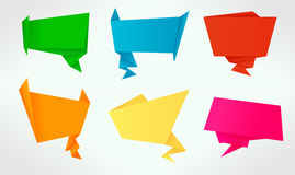 Set of origami banners and speech bubbles Royalty Free Stock Images