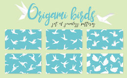 Set of origami bird seamless pattern. Collection of japanese vector ornament. Endless texture can be used for wallpaper, web page background, surface, textile Stock Photography