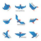 Set of origami birds. In different shapes on white background Royalty Free Stock Photos