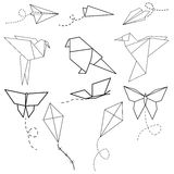 Set of Origami Birds, Planes, Butterflies, Kites Royalty Free Stock Image