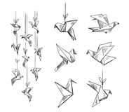 Set of origami birds, vector sketch. Hand drawn vector illustration