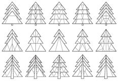 Set of origami Christmas tree silhouettes Royalty Free Stock Photography