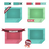 Set of origami frames with curved corners. Collection of design elements in the style of flat is for your site. Stock Image