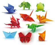 A set of origami vector illustration