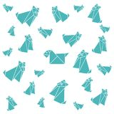 Set of origami paper dog. On a white background Royalty Free Stock Images