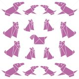 Set of origami paper dog. On a white background Stock Image