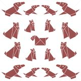 Set of origami paper dog. On a white background Stock Images