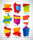 Set of origami paper labels Stock Image