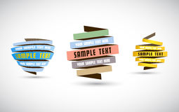 Set of origami paper stripes with place for your own text. Stock Photography