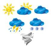 Set origami pogody ikony Obrazy Royalty Free