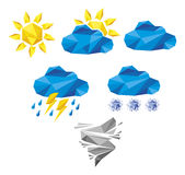 Set origami pogody ikony Royalty Ilustracja