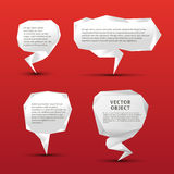 Set of origami speech bubbles. Set of origami paper speech bubbles on red Royalty Free Stock Photography