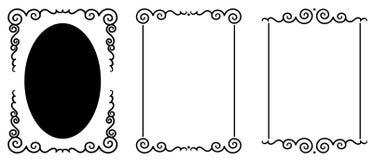 Set of original decorative frames. Original decorative design elements. White background stock illustration
