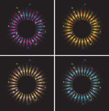 Set of original frames with fireworks. Four round frame with fireworks, stripes and confetti Stock Photos