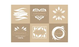 Set of 6 original monochrome emblems with leaves and text. 100 organic product. Healthy lifestyle. Creative logo. Templates for natural cosmetics or vegan food stock illustration