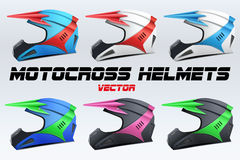 Set of Original Motorcycle Helmets Stock Image
