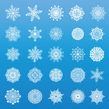 Set of 25 original snowflakes. Set of different snowflakes for your design Stock Photos