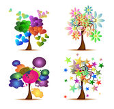 Set Original Trees Royalty Free Stock Photography