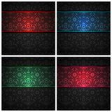 Set ornament  fabric texture - color ribbons Stock Images