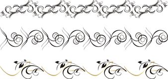 Set of ornament for frame. Three patterns Royalty Free Stock Photo