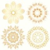 Set of ornament golden doodle mandalas. Vintage decorative elem. Ent. Hand drawn background. Ornamental lace vector illustration