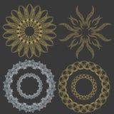 Set of ornament golden doodle mandalas. Vintage decorative elem. Ent. Hand drawn background. Ornamental lace royalty free illustration