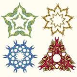 Set of ornament multicolor doodle mandalas. Vintage decorative. Element. Hand drawn background stock illustration