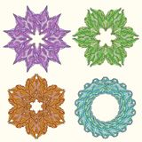 Set of ornament multicolor doodle mandalas. Vintage decorative. Element. Hand drawn background royalty free illustration