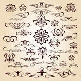 Set ornament,  vignettes, dividers.Vector illustration.Brown  beige. Set ornament, vignettes, dividers.Vector illustration.Brown on beige Royalty Free Stock Image