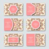 Set ornamentacyjna ręka rysować mandala karty, biznes, odwiedza t Zdjęcie Stock
