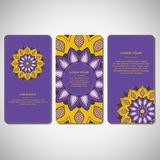 Set ornamentacyjne karty, ulotka z kolorowy kwiatu mandala Zdjęcia Royalty Free