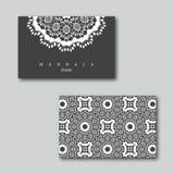 Set ornamentacyjne wizytówki z mandala i wzorem, visi Zdjęcia Royalty Free