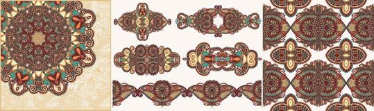 Set ornamentacyjny dekoracyjny etniczny kwiecisty przybranie ilustracja wektor