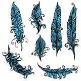 Set ornamentacyjny piórko, plemienny projekt Atramentu ręka rysujący illustr Fotografia Stock
