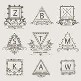 Set ornamental arabesque emblem, logos Royalty Free Stock Images