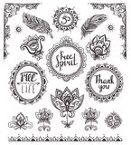 Set of Ornamental Boho Style Frames and elements. Royalty Free Stock Photography