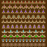 Set of ornamental borders of beads of gold color an. Illustration set of ornamental borders of beads of gold color and precious stones and pearls Stock Images