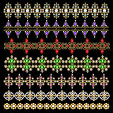 Set of ornamental borders of beads of gold color an. Illustration set of ornamental borders of beads of gold color and precious stones and pearls Royalty Free Stock Photo