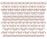Set ornamental borders. Vector decorative elements.Brown . Royalty Free Stock Image