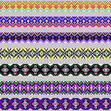 Set of ornamental braid strips of colored geometric Royalty Free Stock Photo