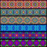 Set of ornamental braid strips of colored geometric ornament Stock Image