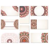 Set of ornamental business cards. Stock Photo