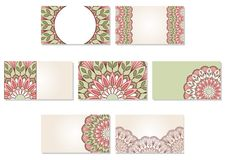 Set of ornamental business cards. Royalty Free Stock Photos