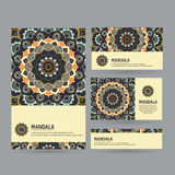 Set of ornamental business cards with flower mandala in dark col. Ors. Vintage decorative elements. Indian, asian, arabic, islamic, ottoman motif. Vector Royalty Free Stock Photography