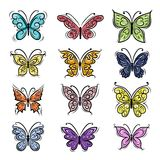 Set of ornamental butterflies for your design Stock Image