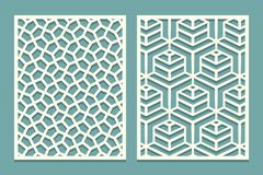 Set Ornamental Card For Laser Cut. Geometric Mosaic Line Pattern.Laser Cutting Decorative Ajour Borders Patterns. Set Of Wedding I Royalty Free Stock Photography