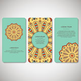 Set of ornamental cards, flyers with flower mandala in bright tu Stock Photos
